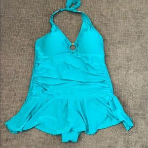 Teal One Piece Halter Swimsuit